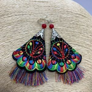 Embroidered Dangle Earrings